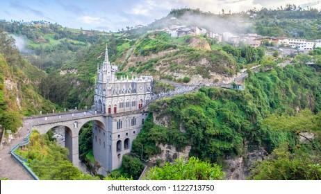 Ipiales, Nariño Department / Colombia - 06.26.2018 Las Lajas Sanctuary basilica church