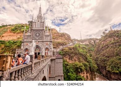 Ipiales, Ecuador - 11 September 2016: Las Lajas Sanctuary, Catholic Church In A Gorge In Ipiales, Colombia