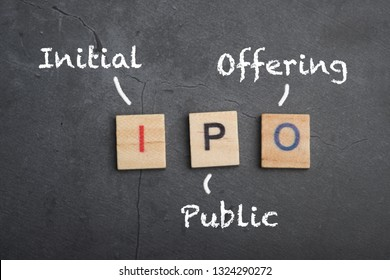 IPO - Initial Public Offering wooden lettering concept
