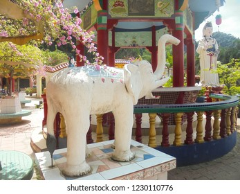 Ipoh / Malaysia - 02 17 2018: white elephant decoration in colorful taoist temple Ling Sen Tong in Ipoh city