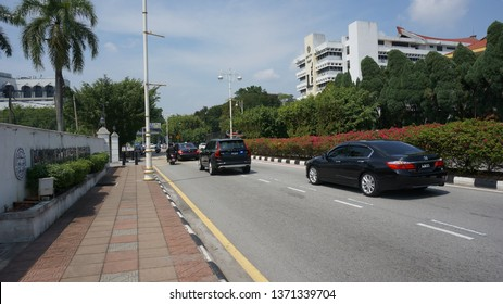 Ipoh, Malaysia - April 16, 2019 : Sultan Nazrin Muizzuddin Shah  was convoyed by traffic police and escort troop while  leaving Bangunan Perak Darul Ridzuan after the state meeting.