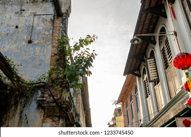Ipoh, Malaysia - August 25, 2018: Concubine Lane is one of the famous attraction at the old town of Ipoh, Perak, due its unique vintage buildings and street sellers.
