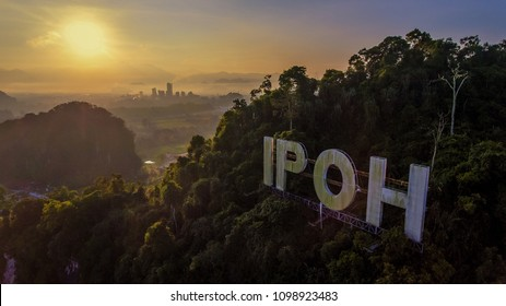 IPOH, MALAYSIA - May 26, 2018 : Aerial view at IPOH signage during sunrise. Ipoh is a capital state of Perak.