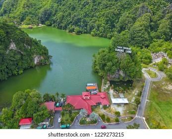 Ipoh, Malaysia-November 10, 2018 : Aerial view of Gunung Lang recreation park.Located at Ipoh, Perak, Malaysia. Besides the park, Gunung Lang Recreational Park has a beautiful lake and limestone hill.