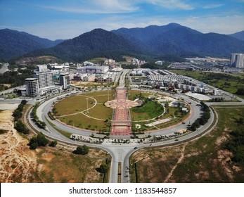 Ipoh, Perak : August 4th 2018 - Aerial view of Dataran Aman Jaya roundabout in Meru Ipoh, Perak with beautiful landscape background