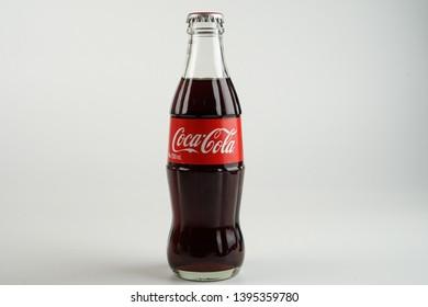 Ipoh, Perak, Malaysia, 1 Mei 2019 - A bottle of coca cola on white background.