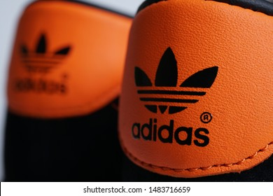 Ipoh, Perak, Malaysia, 10 August 2019 - Adidas Brussel / Brussels is one of the Adidas City Series collection famous 80's trainers, shoes or sneakers.