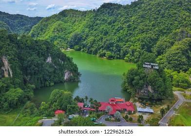 Ipoh Perak, Malaysia - 10 November 2018 : Aerial view of Recreation Centre Gunung Lang. Gunung Lang is a famous tourism place in Ipoh, Perak Malaysia.