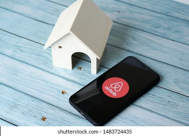 Ipoh, Perak, Malaysia, 20 August 2019 - Concept Airbnb application icon on smartphone. Airbnb is a famous online international rental company Airbnb for travelers.