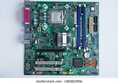 Ipoh, Perak, Malaysia, 20 August 2019 - Motherboard cpu computer system including ram slot, graphic card slot, cmos battery, processor, chip on a integrated circuit. Electronic circuit board.