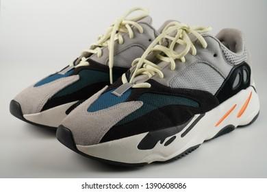 Ipoh, Perak, Malaysia, 5 Mei 2019 - Adidas Yeezy Wave Runner 700. The adidas YEEZY Wave Runner 700 is Kanye West's new adidas YEEZY running shoe isolation white background