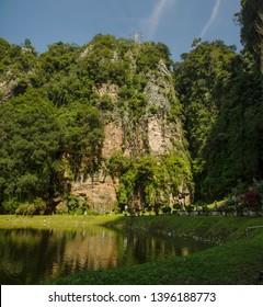 Ipoh, Perak, Malaysia - January 3 2019: Kek Lok Tong Temple's lake garden, Gunung Rapat, Ipoh, Perak.