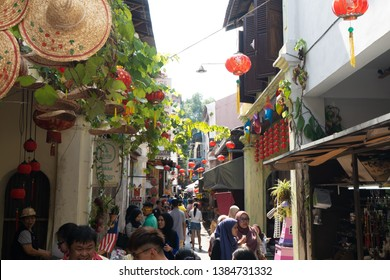 IPOH, PERAK, MALAYSIA - March 14, 2019: Concubine Lane is one of the famous attraction at the old town of Ipoh, Perak, due its unique vintage buildings and street sellers. - Image