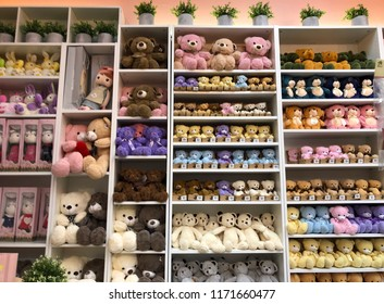 Ipoh, Perak, Malaysia. Ogos 3,2018: Many types of teddy bears/toys for sale at balloons shop.