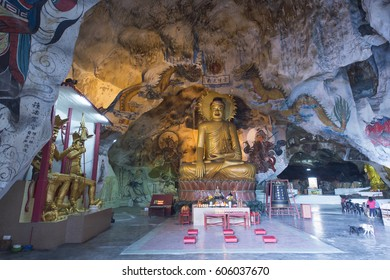 Ipoh, Perak, Malaysia-Mar 10, 2017:Inside the Perak Tong, this is a Chinese Buddhist temple built within a limestone cave and it is the oldest and most famous cave temples in Ipoh, Perak, Malaysia.