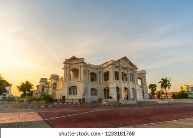 IPOH,MALAYSIA-10.10.2018 : Majestic  townhall during sunrise. Ipoh Townhall  is one of heritage side of unesco. soft focus,blur due to long exposure.