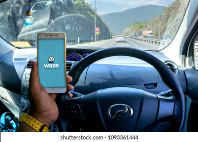 IPOH,MALAYSIA-May 8,2018: - GPS application Waze running on Smartphone. Waze is one of the most popular GPS applications.Soft, Blurry and contain noise.