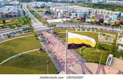 IPOH,Perak Malaysia - February  6, 2019 : Aerial view of Dataran Aman Jaya roundabout in Meru Ipoh, Perak with beautiful perak state flag