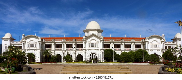 Ipoh,Perak, Malaysia-Jan 13,2019: Panoramic view of Ipoh railway station, is a Malaysian train station located at the south-western side of and named after the capital city of Ipoh in Perak.