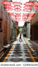 IPOH,PERAK,MALAYSIA- OCTOBER 16, 2016: One of the famous heritage trail walk in the old town of Ipoh Perak Panglima Lane or the old name Concubine Lane