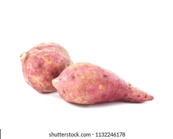 Ipomoea batatas isolated on white background
