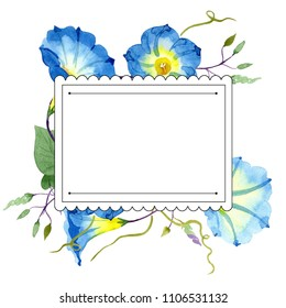 Ipomoea blue. Floral botanical flower. Frame border ornament square. Aquarelle wildflower for background, texture, wrapper pattern, frame or border.