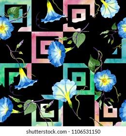Ipomoea blue. Floral botanical flower. Seamless background pattern. Fabric wallpaper print texture.. Aquarelle wildflower for background, texture, wrapper pattern, frame or border.