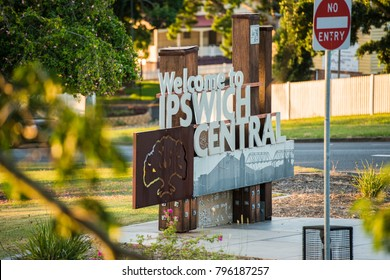Ipswich, Australia - Tuesday 16th January 2018: View of the Ipswich City welcome sign and traffic during the day on Tuesday 16th January 2018.