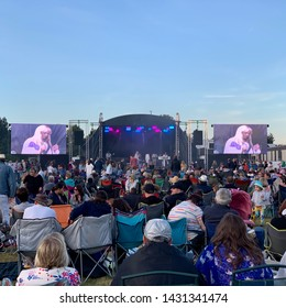 Ipswich, Suffolk- 22nd June 2019: Abba tribute band, The Abba Reunion Tribute, play at Adastral Park.