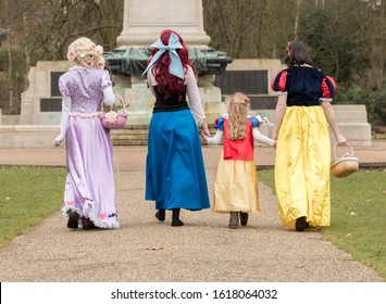 Ipswich, Suffolk, UK February 28 2015; A special princess party in the park where the birthday girl met her favorite characters