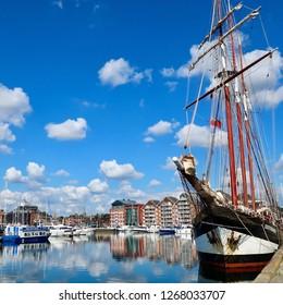 Ipswich, Suffolk, UK, September 2018: The Oosterschelde sailing vessel moored at Neptune Marina in East Anglia.