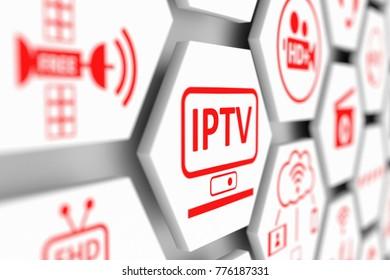 IPTV concept cell blurred background 3d illustration