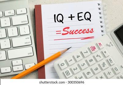 IQ + EQ = success text concept