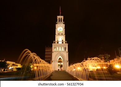 IQUIQUE, CHILE  - 2009: Historic clock tower in Plaza Arturo Prat in the old quarter of Iquique on the Pacific coast of northern Chile. Built circa 1878. Iquique port city in Northern Chile