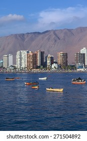 IQUIQUE, CHILE - JANUARY 23, 2015: View of Cavancha beach on January 23, 2015 in Iquique, Chile. Iquique is a popular beach town and free port city in Northern Chile.