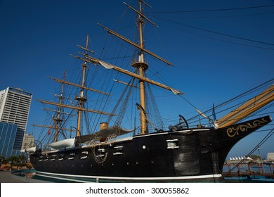 IQUIQUE, CHILE - JULY 7, 2015: Replica of the Chilean Navy ship Esmeralda sunk at the Battle of Iquique in 1879 during the War of the Pacific between Chile and combined forces of Peru and Bolivia.