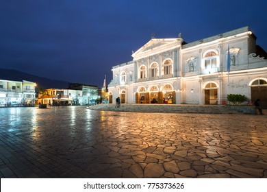 Iquique, Tarapaca Region, Chile - July 10, 2015: The Municipal Theatre of Iquique, a traditional building built in 1889 at downtown, home for the most important shows in the region.