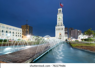 Iquique, Tarapaca Region, Chile - July 10, 2015: The clock tower of Iquique, a traditional building built in 1878 at downtown in Plaza Prat.