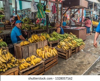 Iquitos, Peru - December 06, 2018: Market with various types of meat, fish and and fruits. Belen Market. Latin America. Belén Mercado.