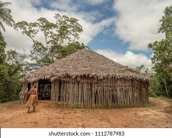 Iquitos, Peru- Mar 28, 2018: House of  Yagua tribe indian