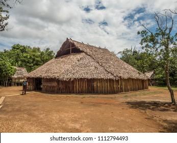 Iquitos, Peru- Mar 28, 2018: House of  Bora tribe indian