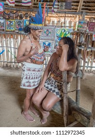 Iquitos, Peru- Mar 28, 2018: Indian from Bora tribe in his local costume