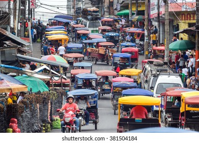 IQUITOS, PERU - MARCH 17: Heavy traffic in the Belen market in Iquitos, Peru on March 17, 2015