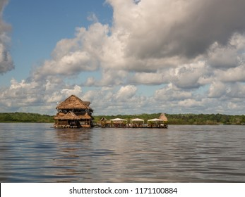 Iquitos, Peru - May 16 2016: Exclusive restaurant on the center of  Amazon River. Amazonia.