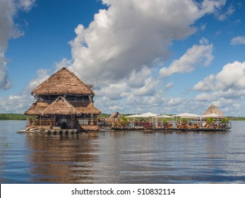 Iquitos, Peru - May 16 2016: Exclusive restaurant on the center of  Amazon River.
