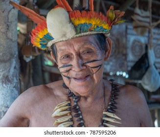 Iquitos, Peru- Sep 22, 2017: Indian from Bora tribe in his local costume