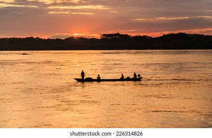 Iquitos, Peru: Sunrise in the Amazon river
