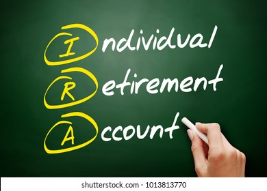 IRA - Individual Retirement Account acronym, concept on blackboard