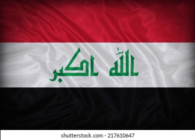 Irag flag pattern on the fabric texture ,vintage style