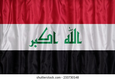 Irag flag pattern on the fabric texture , vintage style